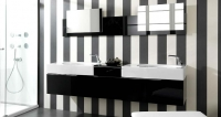 تصاميم ديكورات حمامات مودرن  باللون الابيض والاسود